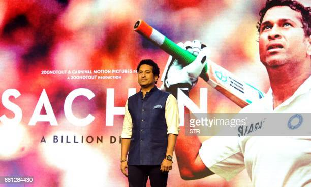 Former Indian cricketer Sachin Tendulkar poses for a photograph during a promotional event for the forthcoming film 'Sachin A Billion Dreams' in...