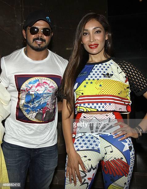 Former Indian cricketer Shanthakumaran Sreesanth and British actress model and singer Sofia Hayat attend the press show of Hindi film 'Ek Adbhut...