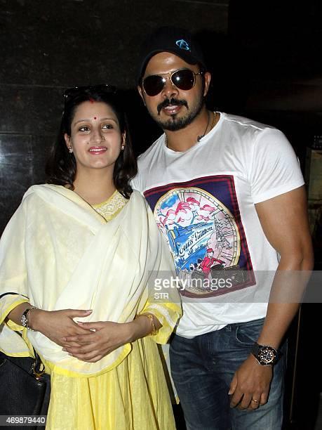 Former Indian cricketer Shanthakumaran Sreesanth and his wife attend the press show of Hindi film 'Ek Adbhut Dakshina Guru Dakshina' directed by...