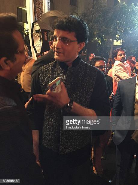 Former Indian cricketer Sourav Ganguly during the wedding reception of Indian Cricketer Yuvraj Singh and Bollywood actor Hazel Keech at ITC Maurya on...