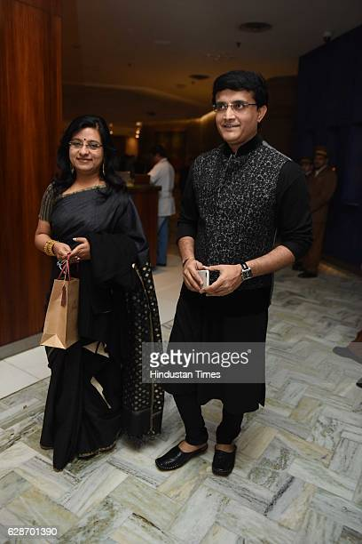 Former Indian cricketer Sourav Ganguly with his wife Dona Ganguly during the wedding reception of Indian Cricketer Yuvraj Singh and Bollywood actor...