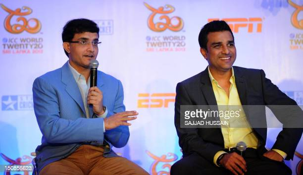 Former Indian cricketers and commentators for the upcoming World Twenty20 world cup Sourav Ganguly and Sanjay Manjrekar speak at a press conference...
