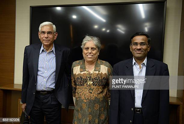 Former Indian government auditor Vinod Rai former India women's cricket captain Diana Edulji and banker Vikram Limaye pose for the media in Mumbai on...