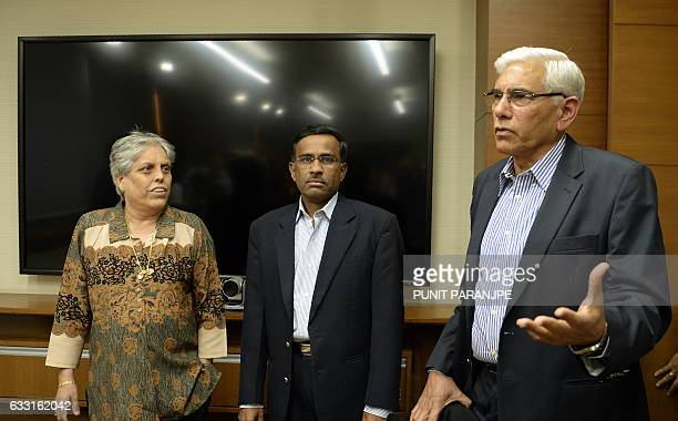 Former Indian government auditor Vinod Rai speaks to the media as former India women's cricket captain Diana Edulji and banker Vikram Limaye look on...