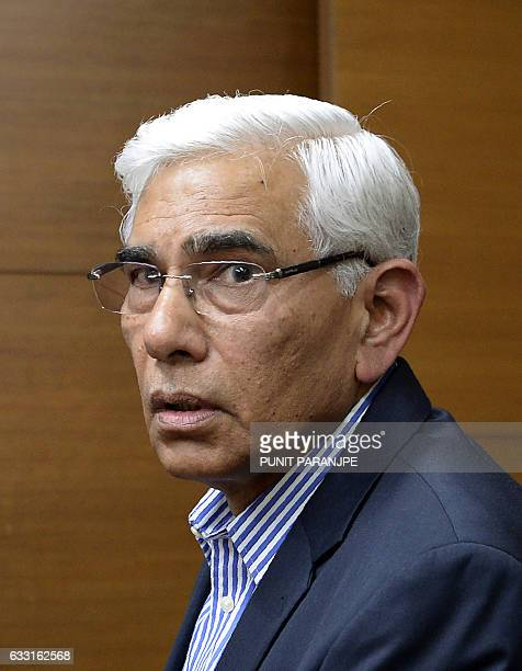 Former Indian government auditor Vinod Rai speaks to the media in Mumbai on January 31 2017 India's Supreme Court appointed a top anticorruption...