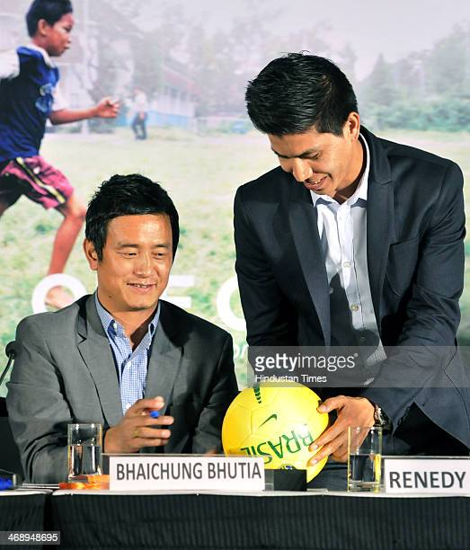 Former Indian national football team captain Bhaichung Bhutia and former vice captain Renedy Singh at the launch of One Goal Campaign on February 12...