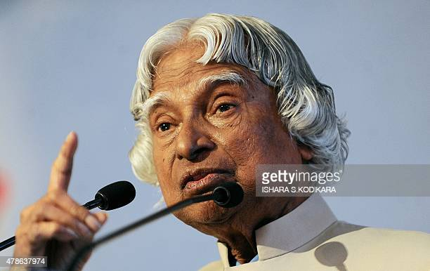 Former Indian president Abdul Kalam addresses the 'Energy Challenges in the Knowledge Based Economy' energy forum in Colombo on June 26 2015 Kalam is...