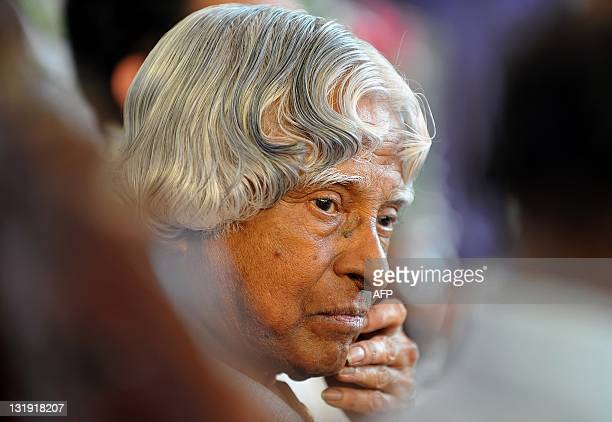 Former Indian president APJ Abdul Kalam listens to a presentation during the inauguration of the Centre of Excellence in High Speed Aerodynamics at...