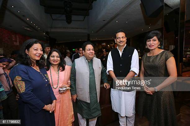 Former Indian Women Cricketer Anjum Chopra with Rajeev Shukla Chairman of Indian Premier League and Union Minister Rajiv Pratap Rudy during a...