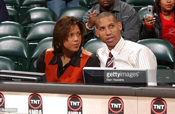 Former Indiana Pacer and current TNT basketball Reggie Miller sits at the announcers table with his sister TNT sideline correspondent Cheryl Miller...