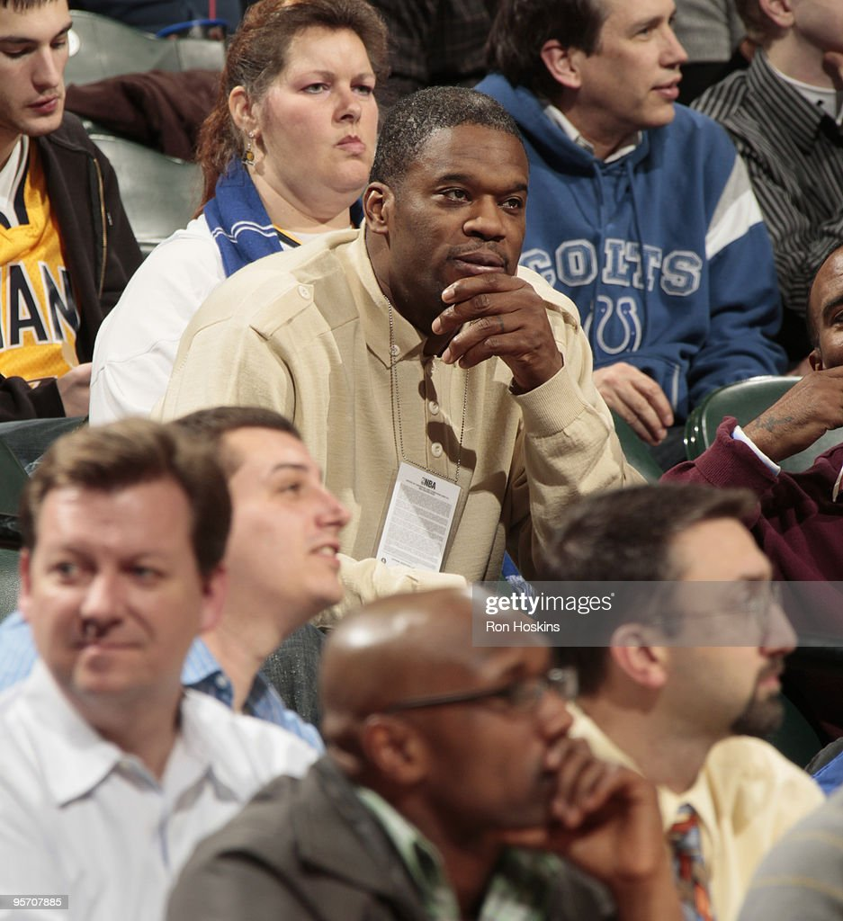 Former Indiana Pacers and Toronto Raptor Antonio Davis watches as the Raptors took on the Pacers at Conseco Fieldhouse on January 11 2010 in...