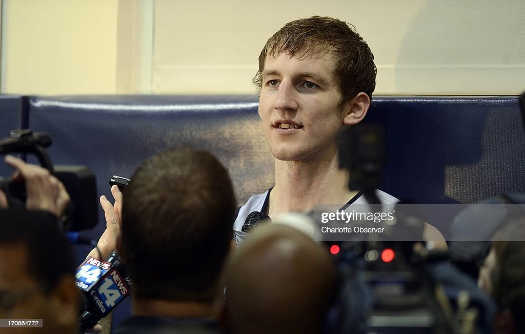 Former Indiana star Cody Zeller talks to the media after a Charlotte Bobcats pre-draft workout Wednesday, June 19, 2013, in Charlotte, North Carolina.