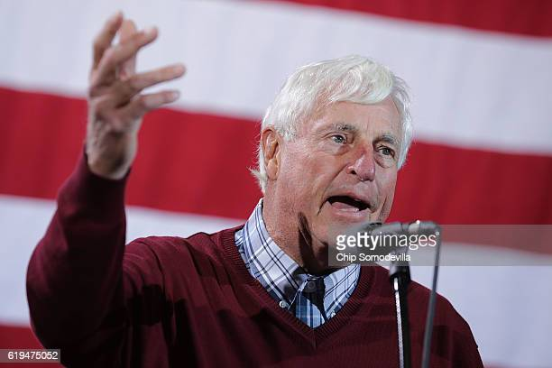 Former Indiana University basketball coach Bobby Knight introduces Republican presidential nominee Donald Trump during a campaign rally at the...