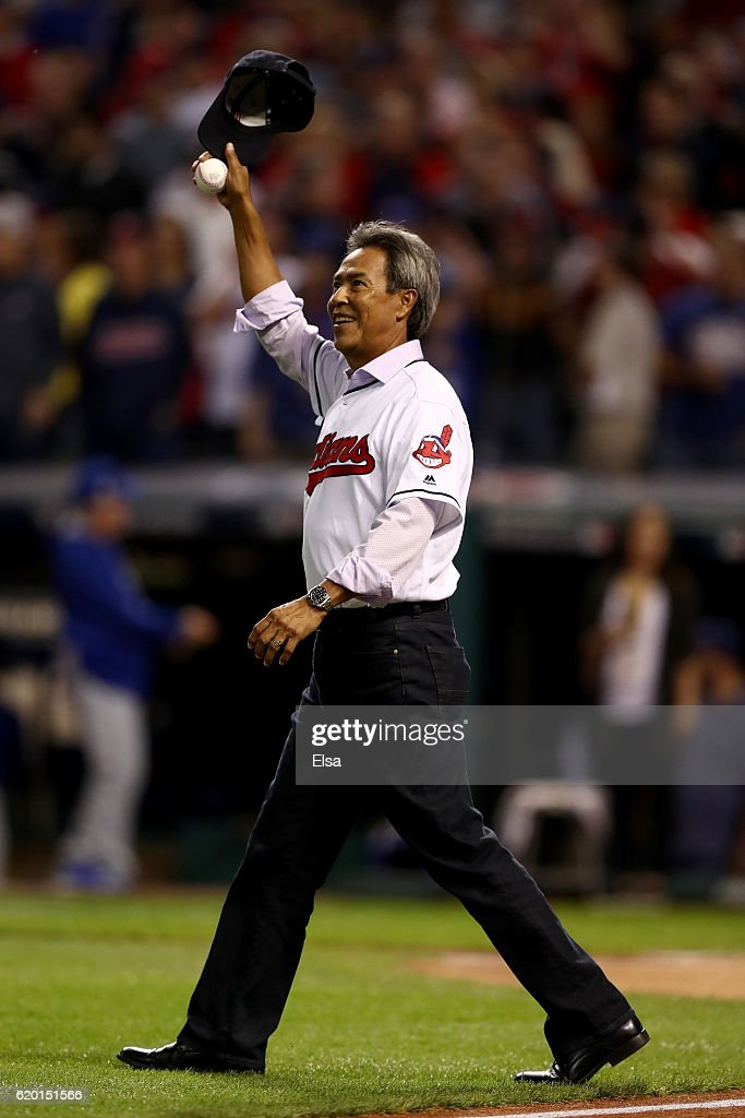 Former Indians' pitcher Dennis Martinez throws out the ceremonial first pitch before Game Six of the 2016 World Series at Progressive Field on November 1, 2016 in Cleveland, Ohio.