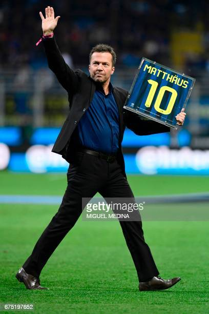 Former Inter Milan player Lothar Matthaus is pictured on the pitch prior the Italian Serie A football match Inter Milan vs Napoli at the San Siro...