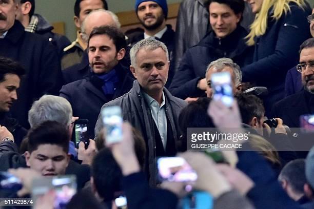 Former Inter Milan's coach from Portugal Jose Mourinho arrives at the Italian Serie A football match Inter Milan' vs Sampdoria' at 'San Siro' Stadium...