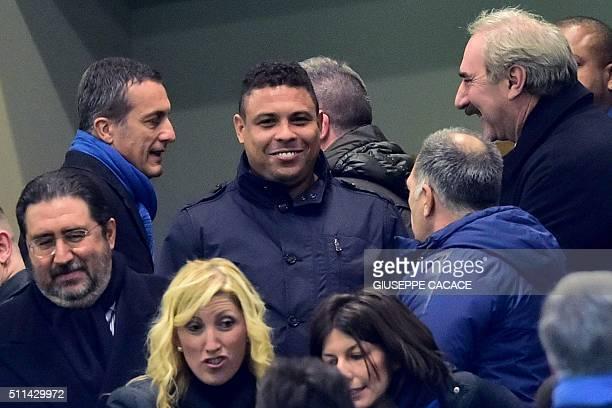 Former Inter Milan's player from Brasil Ronaldo arrives at the Italian Serie A football match Inter Milan' vs Sampdoria' at 'San Siro' Stadium in...