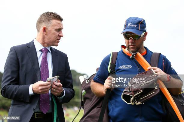 Former international cricketer Craig Cumming speaks to Batting Coach Craig McMillan of New Zealand during day three of the test match between New...