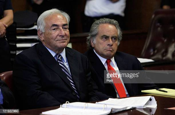 Former International Monetary Fund director Dominique StraussKahn appears before a judge with his lawyer Benjamin Brafman in Manhattan district court...
