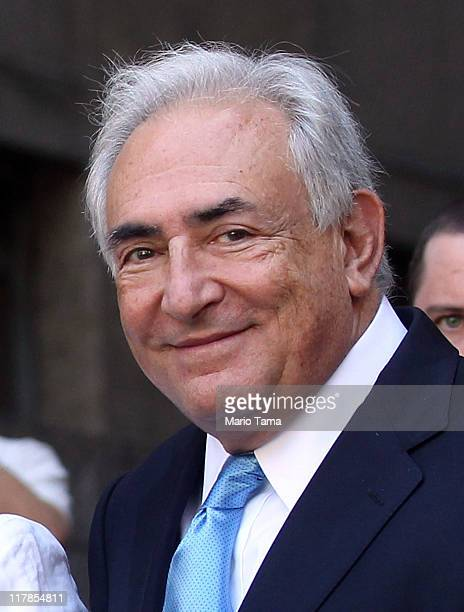 Former International Monetary Fund leader Dominique StraussKahn leaves a hearing where he was released on his own recognizance at New York State...