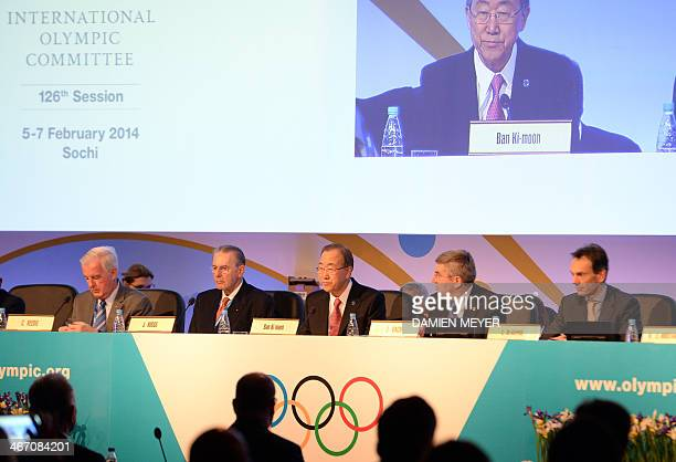 Former International Olympic Committee President Jacques Rogge UN SecretaryGeneral Ban KiMoon and IOC president Thomas Bach sit at the start of an...