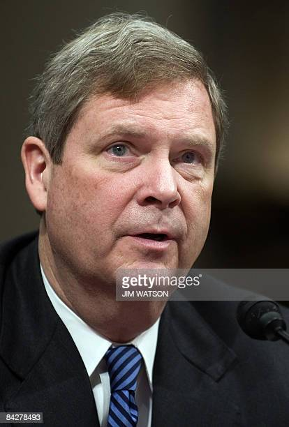 Former Iowa Governor Tom Vilsack speaks during his confirmation hearing on the nomination of Secretary of Agriculture on Capitol Hill in Washington...