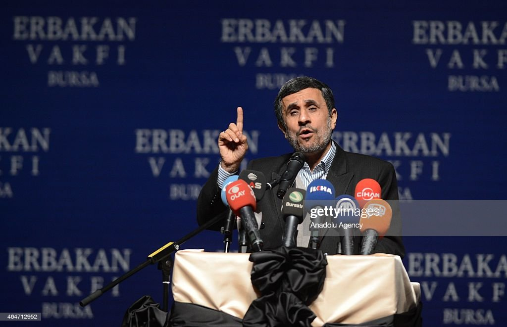 Former Iranian President Mahmoud Ahmadinejad makes a speech during commemorating for the late Prime Minister Necmettin Erbakan organized by Erbakan...
