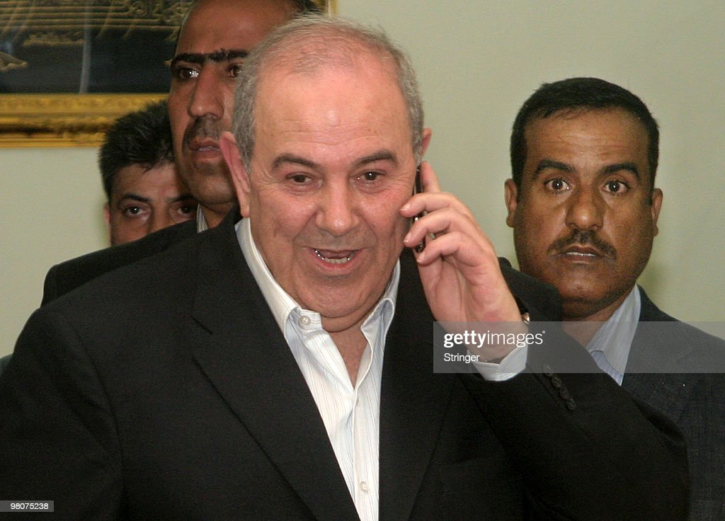 Former Iraqi Prime Minister Iyad Allawi receives a phone call after it was announced that his coalition had won the parlimentary election on March 26, 2010 in Baghdad, Iraq. The Iraqi Independent High Electoral Commission announced on Friday that the coalition led by Iraqi Shiite secular Allawi had won 91 out of 325 seats and the coalition led by Iraqi Prime Minister Nuri al-Maliki won 89 seats.