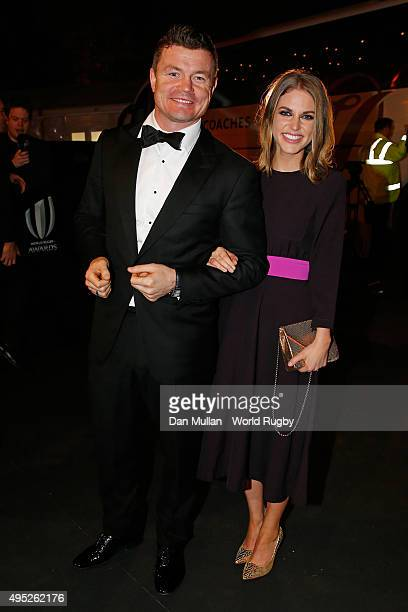 Former Ireland player Brian O'Driscoll and his wife Amy Huberman arrive during the World Rugby Awards 2015 at Battersea Evolution on November 1 2015...