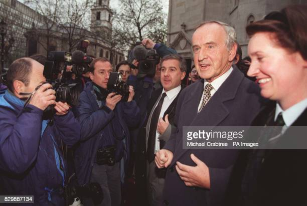 Former Irish premier Albert Reynolds pictured outside the High Court in London this afternoon where he faced a 1 million legal costs bill despite...