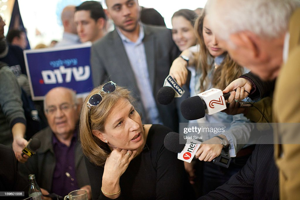 Former Israeli foreign minister Tzipi Livni, the leader of new party, The Movement, speaks to the media during an election event at a shopping center on January 17, 2013 in Ramat Gan, Israel. Israel will go to the polls on January 22.
