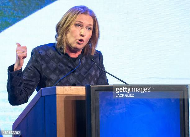 Former Israeli justice minister and HaTnuah party leader Tzipi Livni delivers a speech election campaign meeting in Tel Aviv on January 25 2015 ahead...