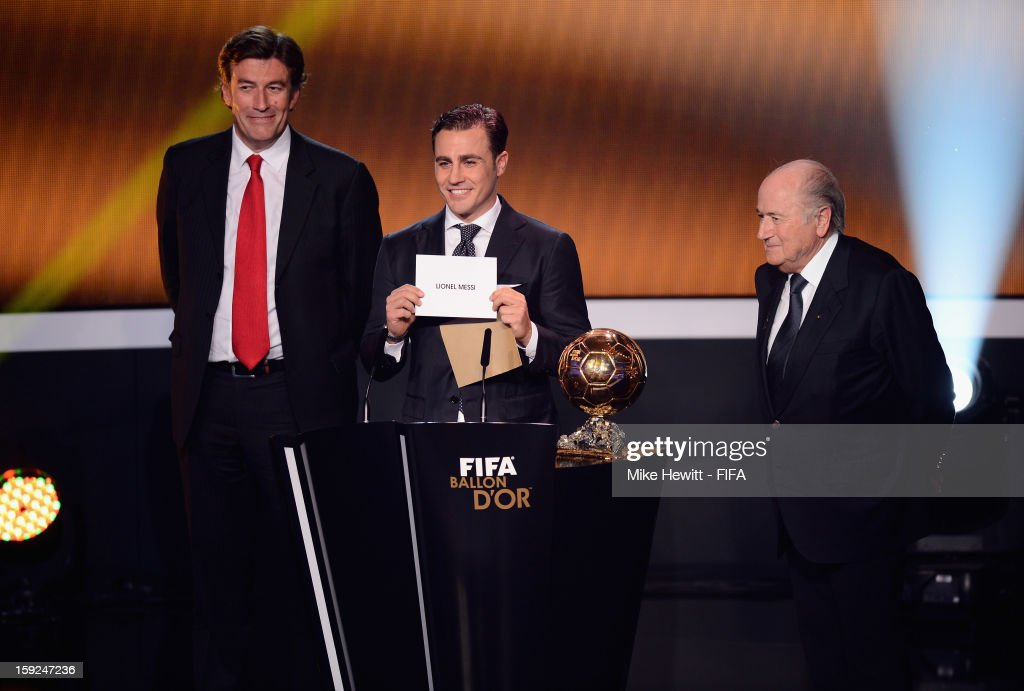 Former Italian captain Fabio Cannavaro introduces the winner of the 2012 Ballon d'Or during FIFA Ballon d'Or Gala 2012 at the Kongresshaus on January 7, 2013 in Zurich, Switzerland.