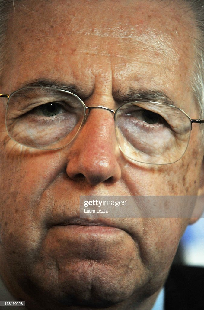 Former Italian First Minister and Member of the Italian senate of the new Italian Government <a gi-track='captionPersonalityLinkClicked' href=/galleries/search?phrase=Mario+Monti&family=editorial&specificpeople=632091 ng-click='$event.stopPropagation()'>Mario Monti</a> speaks during The State of Union conference on May 9, 2013 in Florence, Italy. Academic, business and political leaders are taking part in the annual conference which lasts through May 10th, debating various EU policies and institutions.