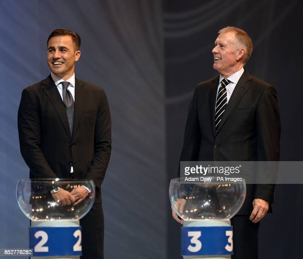 Former Italian footballer Fabio Cannavaro and former English footballer Geoff Hurst during the FIFA 2014 World Cup Draw at the Costa Do Sauipe...
