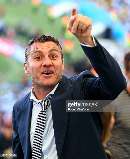 Former Italian international Christian Vieri looks on prior to the 2014 FIFA World Cup Brazil Final match between Germany and Argentina at Maracana...