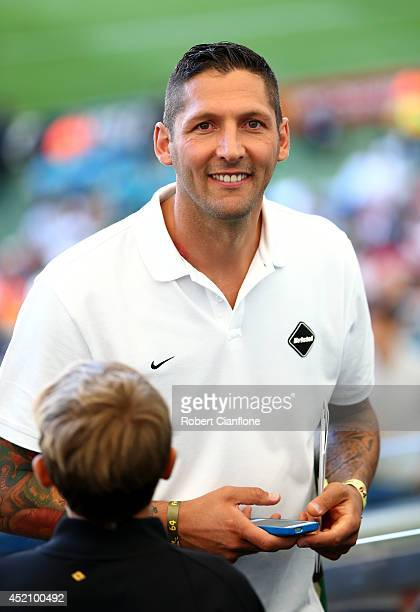 Former Italian international Marco Materazzi looks on prior to the 2014 FIFA World Cup Brazil Final match between Germany and Argentina at Maracana...