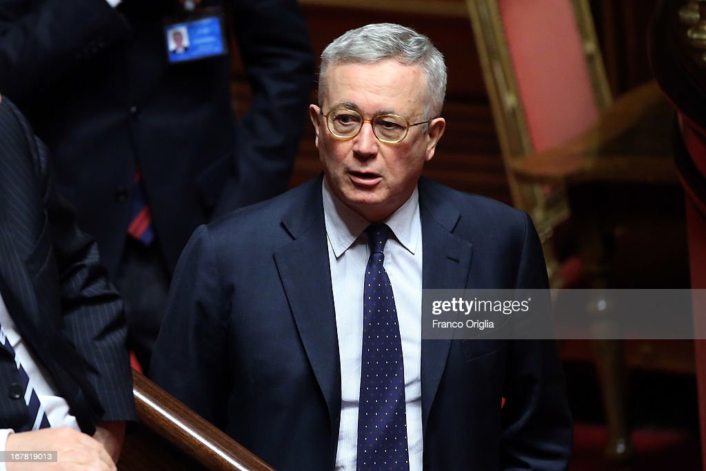 Former Italian Minister of Economy and Finance Giulio Tremonti attends the confidence vote at the Senate on April 30, 2013 in Rome, Italy. The new coalition government was formed through extensive cooperation agreements between the right and left coalitions after a two-month long post-election deadlock.