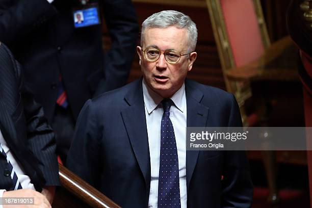 Former Italian Minister of Economy and Finance Giulio Tremonti attends the confidence vote at the Senate on April 30 2013 in Rome Italy The new...