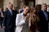 Former italian Premier Silvio Berlusconi's girlfriend Francesca Pascale arrives at a polling station to vote for European parliamentary elections in...