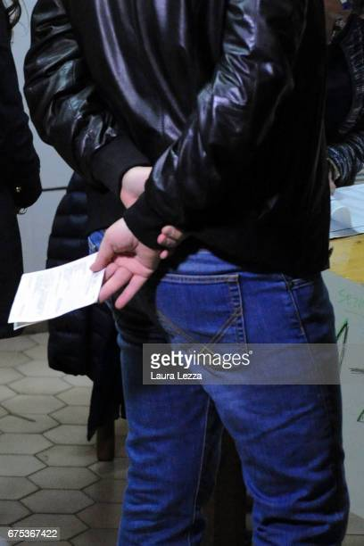 Former Italian Prime Minister and PD secretary Matteo Renzi queueing to cast his vote for Democratic Party leadership primaries on April 30 2017 in...