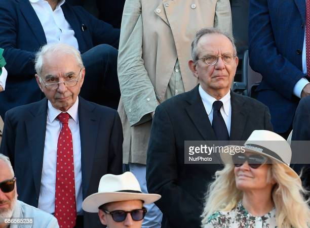 Former Italian Prime Minister Giuliano Amato and Italy's Finance minister Pier Carlo Padoan during the ATP Tennis Open final match between Alexander...