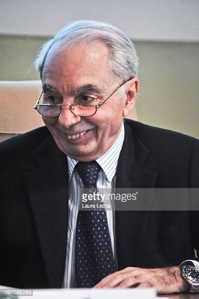 Former Italian Prime Minister Professor Giuliano Amato who is one of the two favorites to lead the new Italian Government attends a meeting at Scuola...