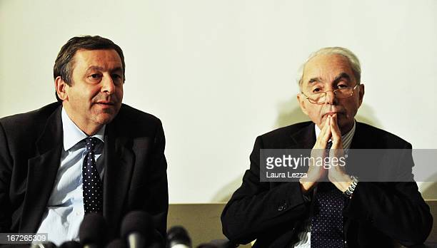 Former Italian Prime Minister Professor Giuliano Amato who is one of the two favorites to lead the new Italian Government attends a meeting with...