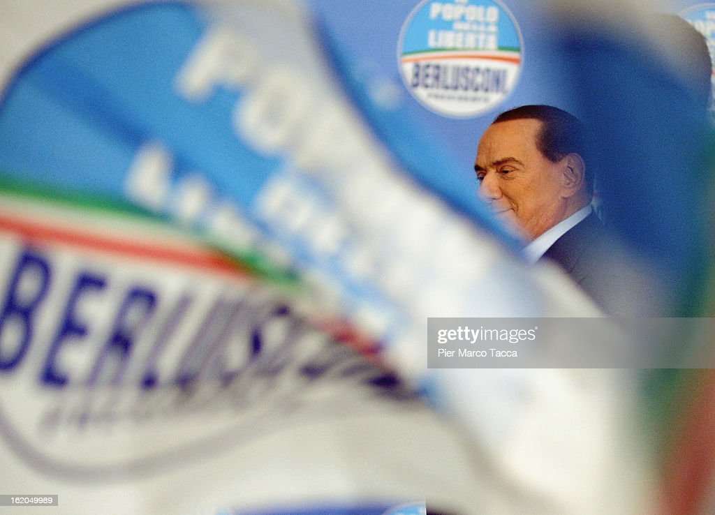 Former Italian Prime Minister <a gi-track='captionPersonalityLinkClicked' href=/galleries/search?phrase=Silvio+Berlusconi&family=editorial&specificpeople=201842 ng-click='$event.stopPropagation()'>Silvio Berlusconi</a> attends a political rally on February 18, 2013 in Milan, Italy. Berlusconi is entering the last week of campaigning for his party Popolo della Liberta. Italians go to the polls February 24-25.