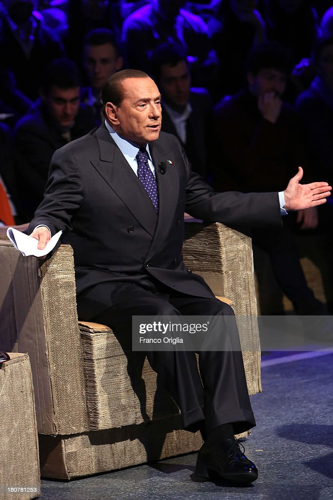 Former Italian Prime Minister <a gi-track='captionPersonalityLinkClicked' href=/galleries/search?phrase=Silvio+Berlusconi&family=editorial&specificpeople=201842 ng-click='$event.stopPropagation()'>Silvio Berlusconi</a> attends 'Ballaro' Italian TV talk show on February 5, 2013 in Rome, Italy. <a gi-track='captionPersonalityLinkClicked' href=/galleries/search?phrase=Silvio+Berlusconi&family=editorial&specificpeople=201842 ng-click='$event.stopPropagation()'>Silvio Berlusconi</a> has announced on Sunday that if the PDL party (People of the Liberty) win the elections scheduled for February 24, they will return the tax to families introduced by the government of Mario Monti.