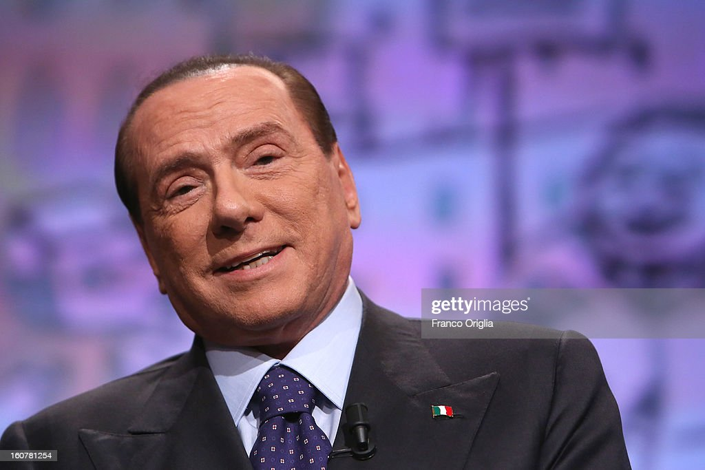 Former Italian Prime Minister Silvio Berlusconi attends 'Ballaro' Italian TV talk show on February 5, 2013 in Rome, Italy. Silvio Berlusconi has announced on Sunday that if the PDL party (People of the Liberty) win the elections scheduled for February 24, they will return the tax to families introduced by the government of Mario Monti.