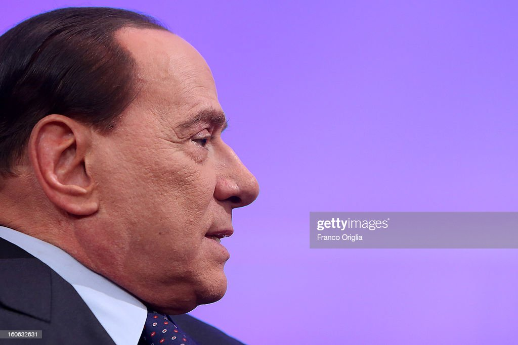 Former Italian Prime Minister <a gi-track='captionPersonalityLinkClicked' href=/galleries/search?phrase=Silvio+Berlusconi&family=editorial&specificpeople=201842 ng-click='$event.stopPropagation()'>Silvio Berlusconi</a> attends 'L'Aria Che Tira' TV show on February 4, 2013 in Rome, Italy. <a gi-track='captionPersonalityLinkClicked' href=/galleries/search?phrase=Silvio+Berlusconi&family=editorial&specificpeople=201842 ng-click='$event.stopPropagation()'>Silvio Berlusconi</a> has announced yesterday that if the PDL party (People of the Liberty) win the elections scheduled for February 24, they will return the tax to families introduced by the government of Mario Monti.