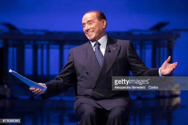 Former Italian Prime Minister Silvio Berlusconi attends the political show 'Porta a Porta' at RAIÕs broadcast studios on November 16 2017 in Rome...