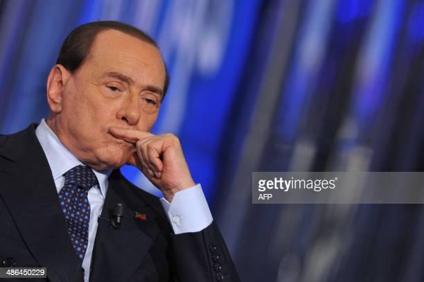 Former Italian Prime Minister Silvio Berlusconi attends the RAI 1 television programme 'Porta a Porta' on April 24 2014 in Rome Silvio Berlusconi...